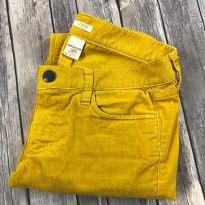 J.Crew Matchstick Cords Straight Leg Yellow 26
